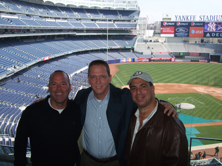 Tim on the left, David Cone in the center and Andrew on the right at The 'Perfect' Suite at Yankee Stadium